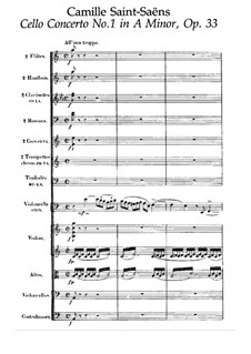 Concerto for Cello and Orchestra No.1 in A Minor, Op.33: Full score by Camille Saint-Saëns