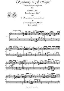 Transcriptions for piano: Transcriptions for piano by Johann Sebastian Bach, Tomaso Albinoni, Antonio Vivaldi, Francesco Maria Veracini