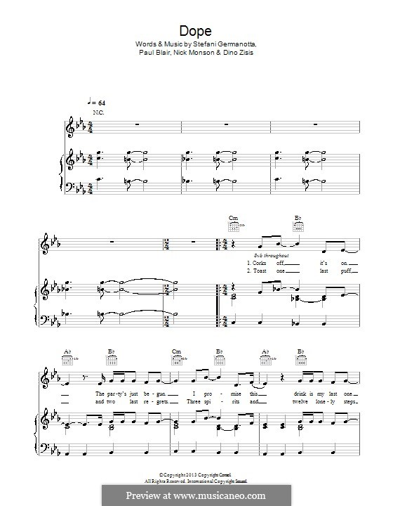 Dope (Lady Gaga): For voice and piano (or guitar) by Paul Blair, Stefani Germanotta, Dino Zisis, Nick Monson