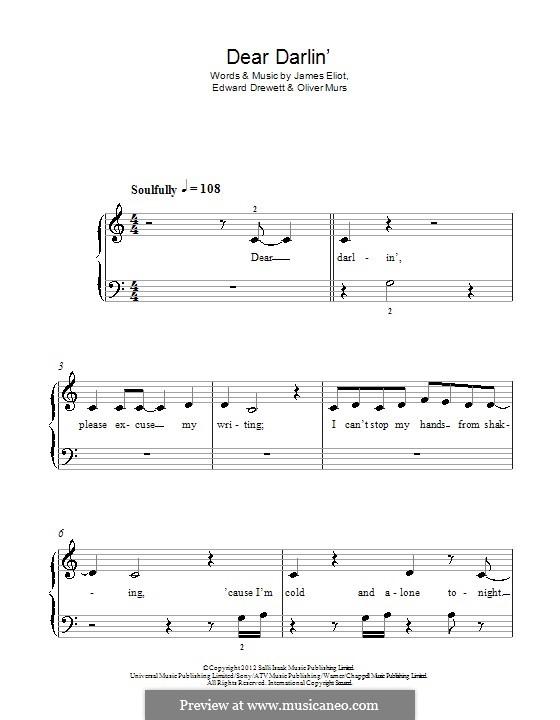 Dear Darlin': For piano by Ed Drewett, James Eliot, Olly Murs