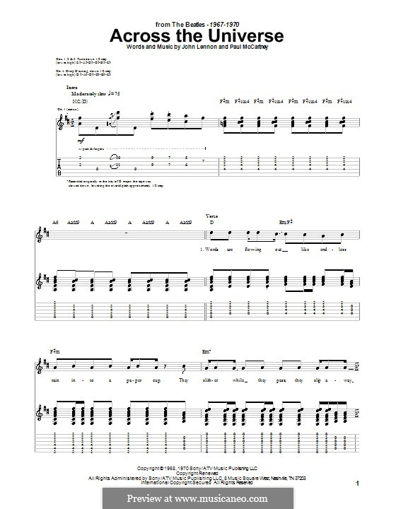 Across the Universe (The Beatles): For guitar with tab by John Lennon, Paul McCartney