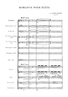 Romance for Flute (or Violin) and Orchestra, Op.37: Full score by Camille Saint-Saëns