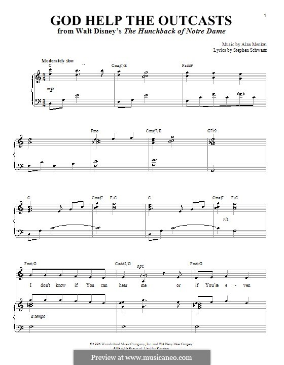 God Help the Outcasts (from The Hunchback of Notre Dame): For voice and piano by Alan Menken