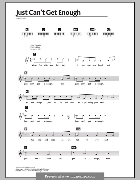 Just Can't Get Enough (Depeche Mode): For keyboard by Vince Clarke