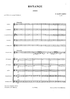 Romance for Violin and Orchestra, Op.48: Full score by Camille Saint-Saëns