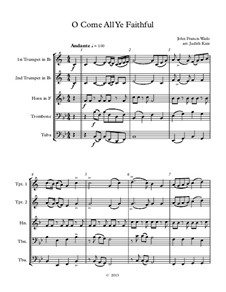 O Come All Ye Faithful: For wind quintet – score by John Francis Wade