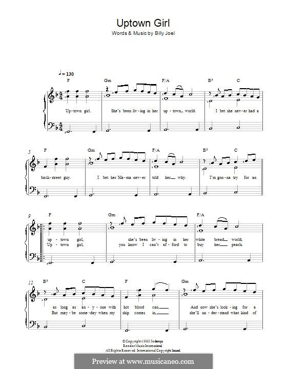 Uptown Girl: For voice and piano by Billy Joel