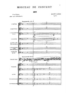 Concert Piece for Violin and Orchestra, Op.62: Full score by Camille Saint-Saëns