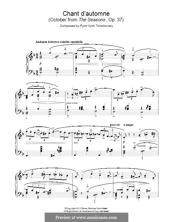 No.10 October (Autumn Song): For piano by Pyotr Tchaikovsky