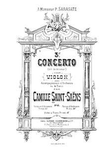 Concerto for Violin and Orchestra No.3 in B Minor, Op.61: Full score by Camille Saint-Saëns