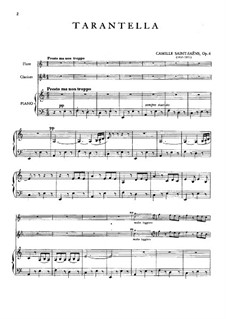 Tarantella in A Minor, Op.6: For flute, clarinet and piano by Camille Saint-Saëns