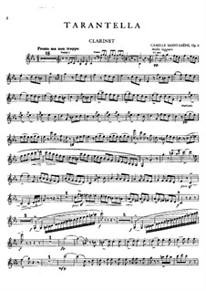 Tarantella in A Minor, Op.6: Clarinet part by Camille Saint-Saëns