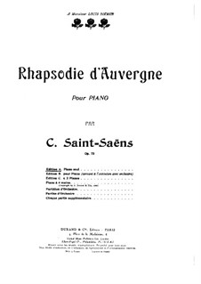Rhapsodie d'Auvergne, Op.73: For piano by Camille Saint-Saëns