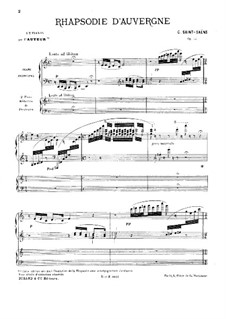 Rhapsodie d'Auvergne, Op.73: For two pianos four hands by Camille Saint-Saëns