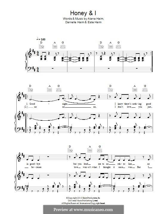Honey and I (Haim): For voice and piano (or guitar) by Alana Haim, Danielle Haim, Este Haim
