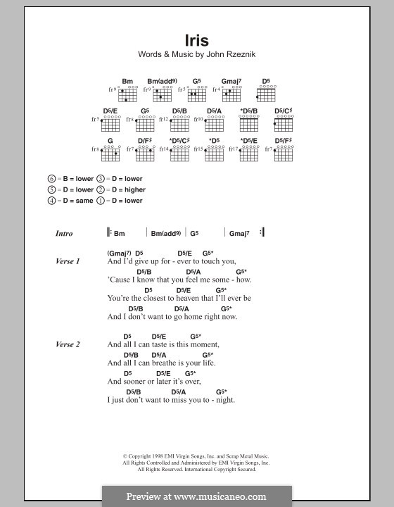 Iris Goo Goo Dolls By J Rzeznik Sheet Music On Musicaneo