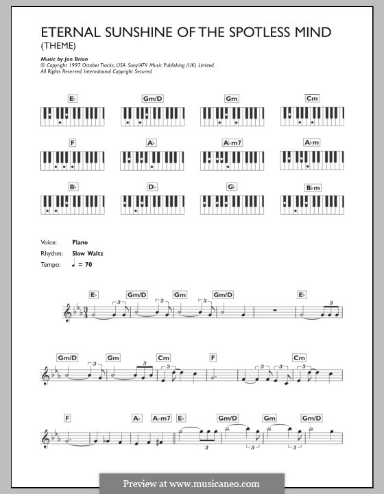 Eternal Sunshine of the Spotless Mind (Theme): For keyboard by Jon Brion