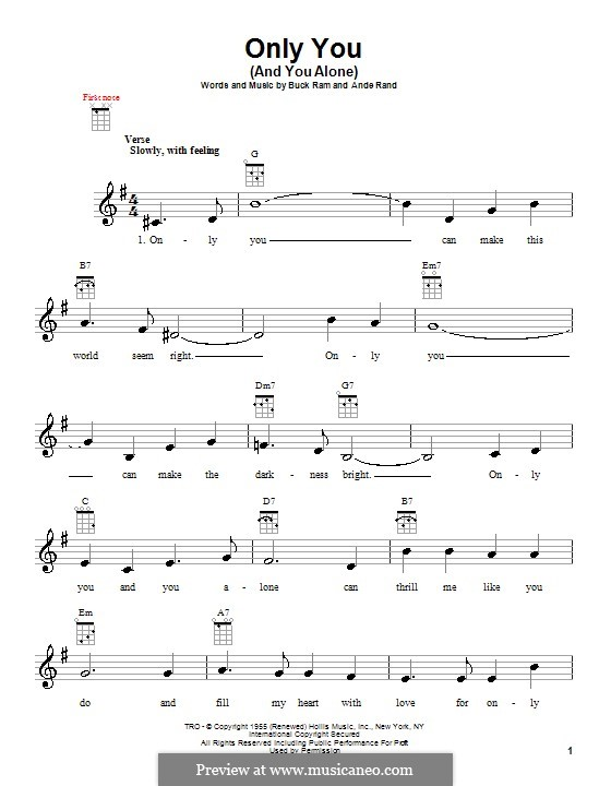 Only You (And You Alone): For ukulele by Ande Rand, Buck Ram