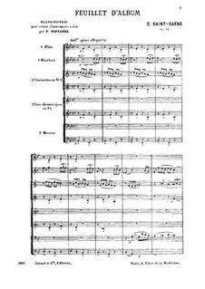 Feuillet d'album, Op.81: For wind octet by Camille Saint-Saëns