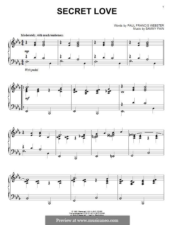 Secret Love: For piano by Sammy Fain