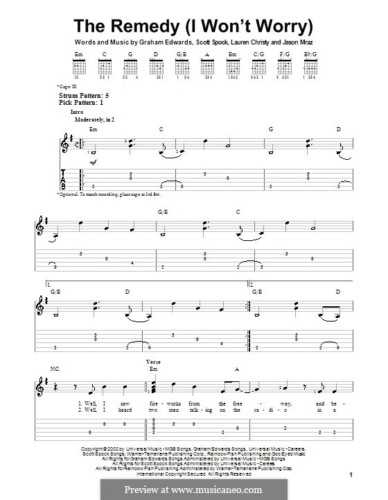 The Remedy (I Won't Worry): For guitar with tab by Graham Edwards, Lauren Christy, Scott Spock