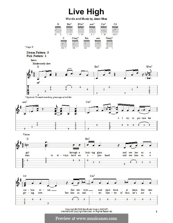 Live High: For guitar with tab by Jason Mraz