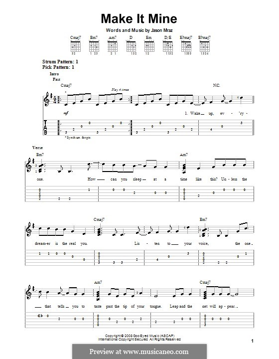 Make It Mine: For guitar with tab by Jason Mraz