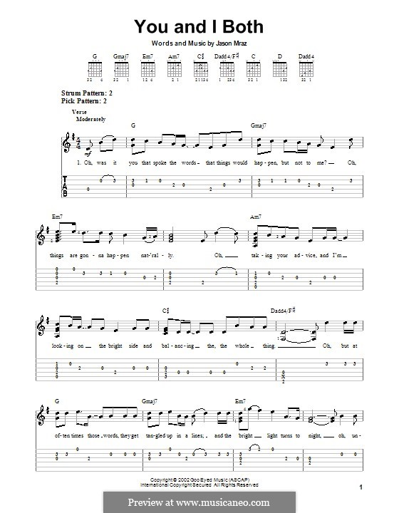 You and I Both: For guitar with tab by Jason Mraz