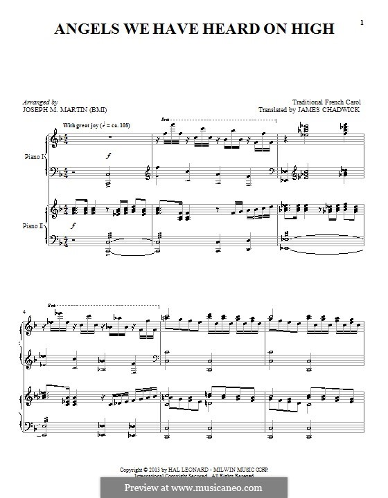 Angels We Have Heard on High, for Piano: For a single performer by folklore