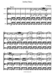 No.5 Arabian Dance: For string quartet by Pyotr Tchaikovsky