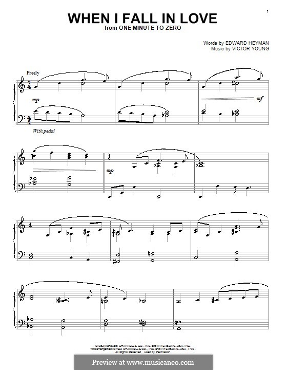 When I Fall in Love (Celine Dion): For piano by Victor Young
