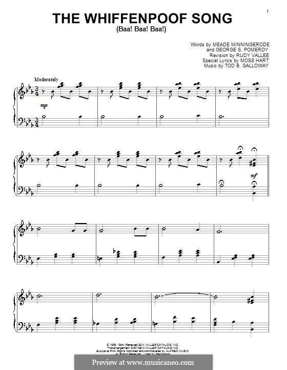 The Whiffenpoof Song (Baa! Baa! Baa!): For piano by Tod Buchanan Galloway