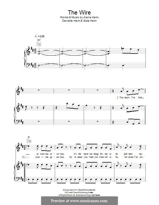 The Wire (Haim): For voice and piano (or guitar) by Alana Haim, Danielle Haim, Este Haim