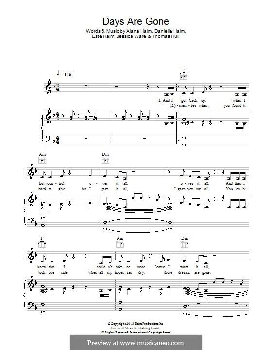 Days Are Gone (Haim): For voice and piano (or guitar) by Tom Hull, Alana Haim, Danielle Haim, Este Haim, Jessie Ware