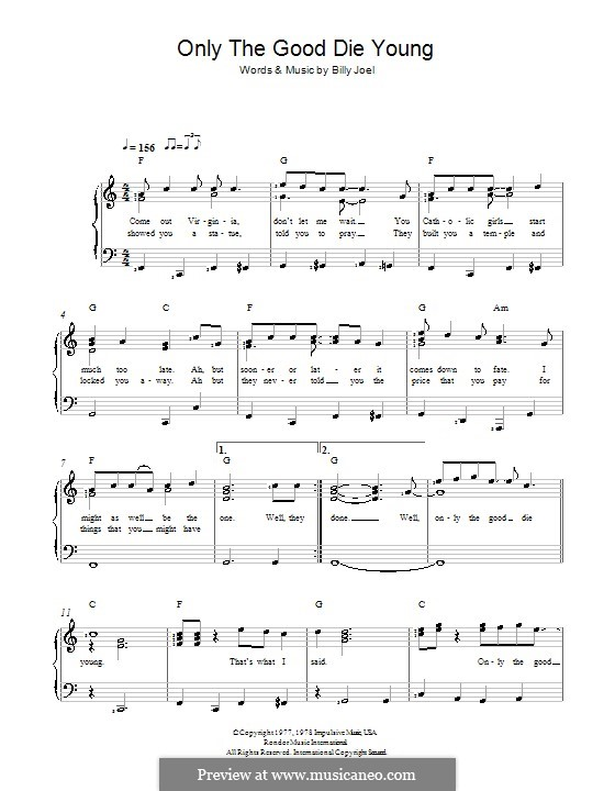 Only the Good Die Young by B. Joel - sheet music on MusicaNeo