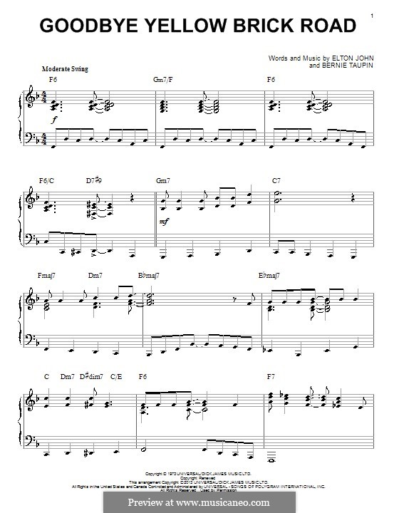 Goodbye Yellow Brick Road: For piano by Elton John