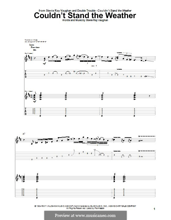 Couldn't Stand the Weather: For guitar with tab by Stevie Ray Vaughan