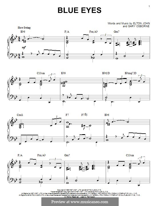 Blue Eyes: For piano by Elton John, Gary Osborne