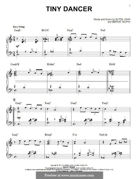 Tiny Dancer By E John Sheet Music On Musicaneo