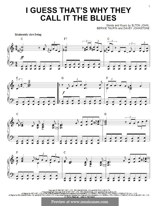 I Guess That's Why They Call It the Blues: For piano by Davey Johnstone, Elton John