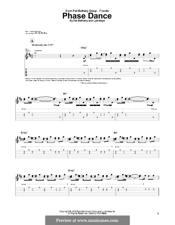 Phase Dance: For guitar with tab by Pat Metheny