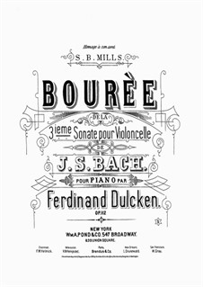 Suite for Cello No.3 in C Major, BWV 1009: Bourrée. Arrangement for piano by Johann Sebastian Bach