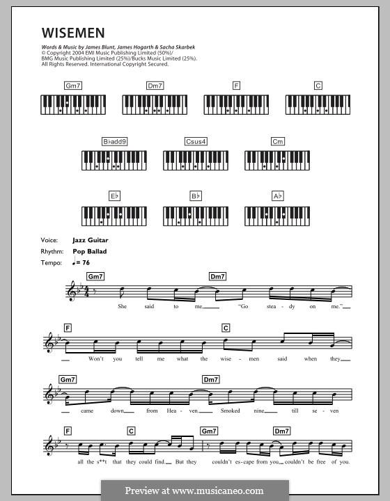 Wisemen: For keyboard by Jimmy Hogarth, James Blunt, Sacha Skarbek