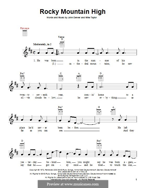 Rocky Mountain High: For ukulele by John Denver, Mike Taylor