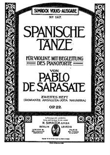 Romanza Andaluza, Op.22: For violin and piano by Pablo de Sarasate