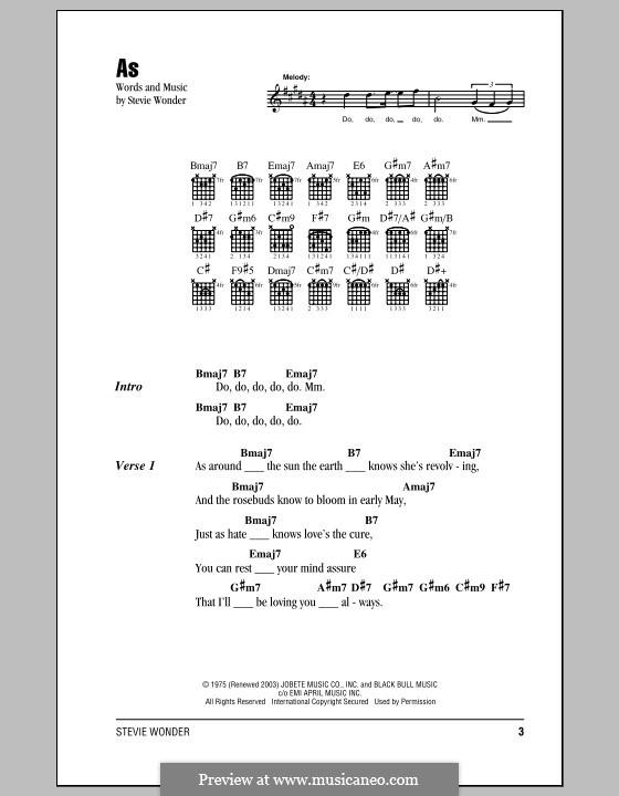 As: Lyrics and chords by Stevie Wonder