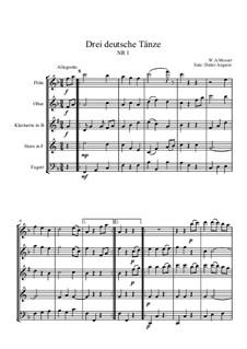Three German Dances, K.605: Dance No.1, for wind ensemble by Wolfgang Amadeus Mozart