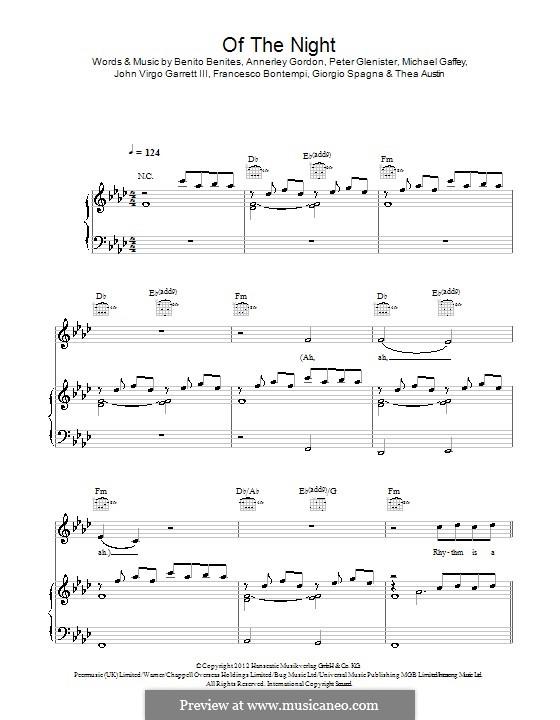 Of the Night (Bastille): For voice and piano (or guitar) by Annerley Gordon, Pete Glenister, Benito Benites, Francesco Bontempi, Giorgio Spagna, John Virgo Garrett III, Michael Gaffey, Thea Austin