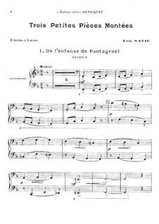 Trois petites pièces montées: For piano four hands by Erik Satie
