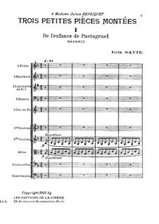 Trois petites pièces montées: Full score by Erik Satie